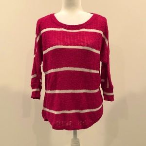 Sonoma pink and white striped sweater 3/4 sleeve
